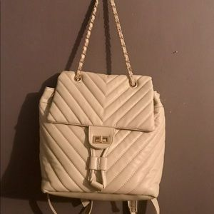 Handbags - White/cream Faux leather quilted backpack